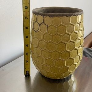 West Elm Honeycomb Pot- green yellow